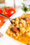 Chickpeas with sausage Royalty Free Stock Photography