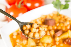Chickpeas with sausage Royalty Free Stock Images