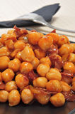 Chickpeas with serrano ham, served Royalty Free Stock Image