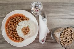 Chickpeas Served With Rice Royalty Free Stock Images