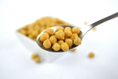 Chickpeas in small white dish Stock Photos