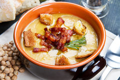 Chickpeas soup on bowl. A chickpeas soup on bowl Royalty Free Stock Images