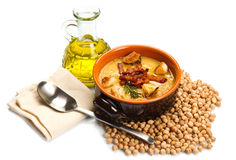 Chickpeas soup on bowl Stock Photo