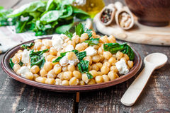 Chickpeas with spinach and feta Royalty Free Stock Photography