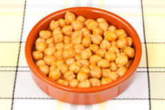 Chickpeas Stew. In a clay plate. On a tablecloth Stock Photography
