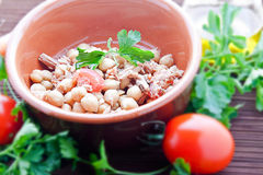 Chickpeas tuna and tomato (three quarters view). Chickpeas tuna and tomato, three quarters view Royalty Free Stock Photography