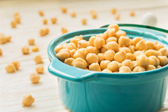 Chickpeas in turquoise ceramic pot Royalty Free Stock Photo