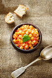 Chickpeas with vegetables and pangasius Stock Photo