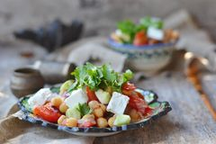 Chickpeas and vegetebles salad. Stock Photography
