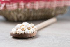 Chickpeas on a wood spoon. Some chickpeas on a wooed spoon in a wooden table royalty free stock image