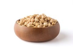 Chickpeas in a wooden bowl Stock Image