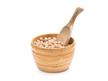 Chickpeas in a wooden bowl Stock Images