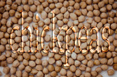 Chickpeas write Stock Image