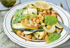 Chickpeas and zucchini salad. Stock Photos