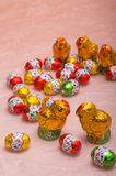 Chicks and chocolate eggs for Easter holidays Royalty Free Stock Image
