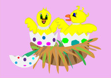 Chicks Coming Out of their Eggs - Vector. Two chicks in a nest coming out of their easter eggs vector illustration