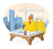 Chicks discussing a construction project Royalty Free Stock Image