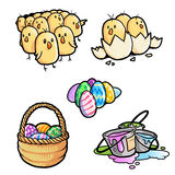 Chicks and easter eggs. Little chicks and easter eggs Royalty Free Stock Photography