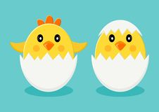 Chicks in egg shells. Vector illustration stock illustration