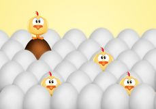 Chicks with eggs in Easter Day. Illustration of chicks with eggs in Easter Day on yellow background Royalty Free Stock Images