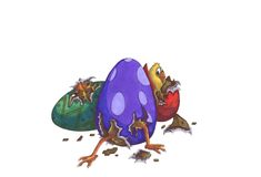 Chicks hatching. Hand drawn illustration of chicks hatching from easter eggs Royalty Free Stock Images