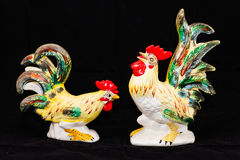Chicks. A pair of ceramic chickens inherited from my grandmother royalty free stock photos