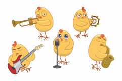 Chicks play various musical instruments Stock Photo