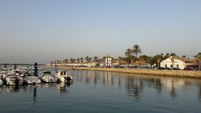 Chiclana de La Frontera, Andalucia, Spain. Picturesque village of Andalucia with marina and its boats, at sunset summer Royalty Free Stock Photos