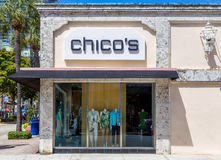 Chico`s Clothing Store Exterior and Logo. FORT LAUDERDALE, FLA/USA - APRIL 10, 2017: Chico`s clothing store exterior and logo. Chico`s is a retail women`s royalty free stock image