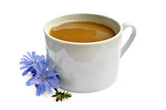 Chicory drink in white cup with flower Stock Image