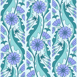 Chicory flowers floral pattern Royalty Free Stock Photography