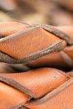 Chicote de couro isolado sobre o macro branco do close up do fundo Fotos de Stock