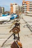 Chicote de fios da pesca para barcos em Pomorie, Bulgária Imagem de Stock Royalty Free