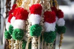 Chicotes tricolor tradicionais do couro para sheperds húngaros e ho foto de stock royalty free