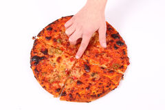 chid πίτσα s δάχτυλων Στοκ Φωτογραφίες