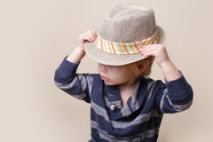 Chid in Fedora Hat: Fashion Royalty Free Stock Image
