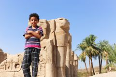 Chid at Karnak Temple - Egypt Royalty Free Stock Images