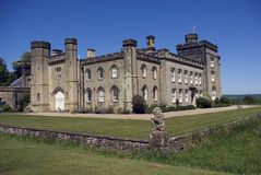 Chiddingstone Castle. In the Kent village of Chiddingstone England. View from the edge of the moat Stock Photo