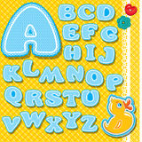 Chidish alphabet - letters are made of blue lace a Stock Image