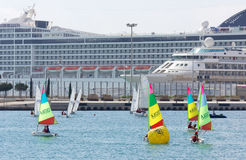 Chidlren Sailing Race in the Port of Valencia, Spain Royalty Free Stock Image