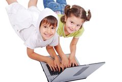 Chidren activities on laptop Royalty Free Stock Photography