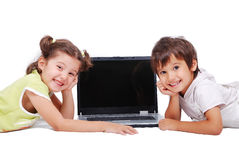Chidren activities on laptop Royalty Free Stock Photos