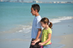 Chidren at the beach Royalty Free Stock Photo