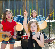 Chidren Singer Girl Singing Playing Live Band In Backyard Royalty Free Stock Photo