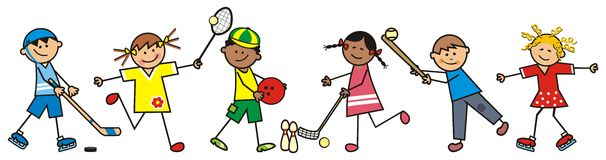 Chidren and sports discipline, vector icon Royalty Free Stock Image