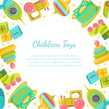 Chidren Toys Banner with Place for Text in Circular Shape Vector Illustration. On White Background stock illustration