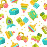 Chidren Toys Seamless Pattern, Design Element Can Be Used for Fabric, Wallpaper, Packaging Vector Illustration. On White Background royalty free illustration