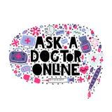 Chieda ad un medico online illustrazione vettoriale
