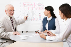 Chief and assistants. The skilled chief trains the assistants royalty free stock photography