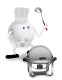 Chief and Chafing Dish. 3D character Royalty Free Stock Image